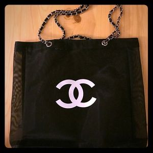 Chanel nylon beach tote large silver chain new